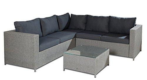 hochwertige polyrattan lounge 3 tlg inkl kissen gestell aus stahl rattan luxus gartenset. Black Bedroom Furniture Sets. Home Design Ideas