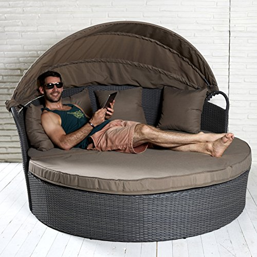 hochwertige sonneninsel inkl sonnenschutz strandkorb muschel garten polyrattan garten lounge. Black Bedroom Furniture Sets. Home Design Ideas