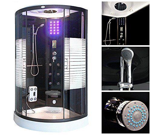 Home Deluxe Black Pearl 90x90 cm Duschtempel, inkl. Dampfsauna und komplettem Zubehör