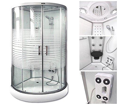 Home Deluxe White Pearl 100x100 cm Duschtempel, inkl. Dampfsauna und komplettem Zubehör