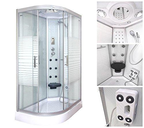 Home Deluxe White Pearl 120x80 cm links Duschtempel, inkl. Dampfsauna und komplettem Zubehör