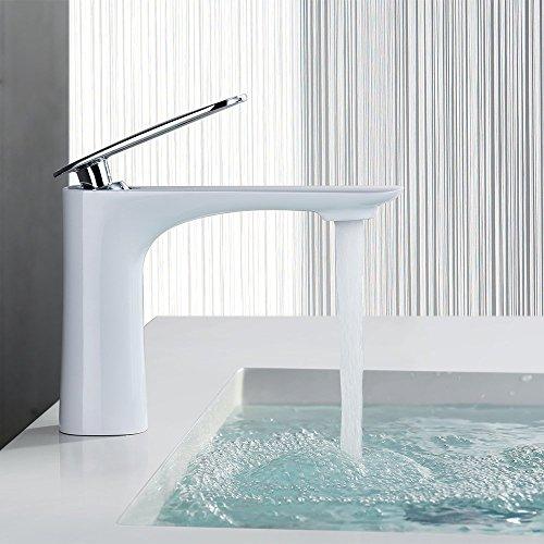 Homelody® Weiß in Bad Wasserhahn 3/8 zoll Waschbecken design Armatur Waschtisch Mischbatterie Waschbeckenarmatur Badarmatur( DVGW Zertifizierung)