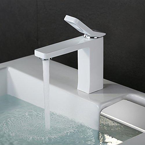 Homelody® weiß Wasserhahn bad Waschbecken Armatur Waschtisch Waschtischarmatur Waschbeckenarmatur DVGW Authentifizieren