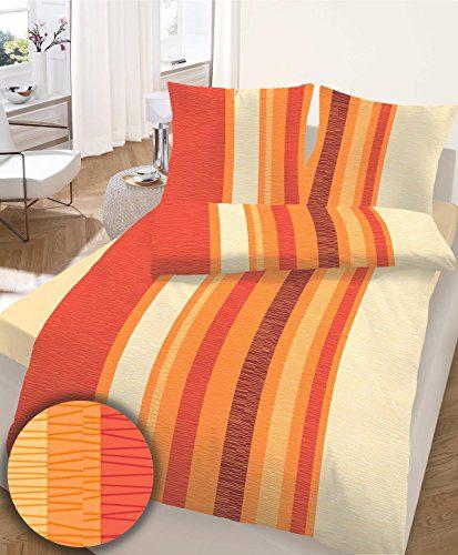 IDO 659082 Baumwoll Seersucker Bettwäsche im orange rot natur 155x220 + 80x80 cm