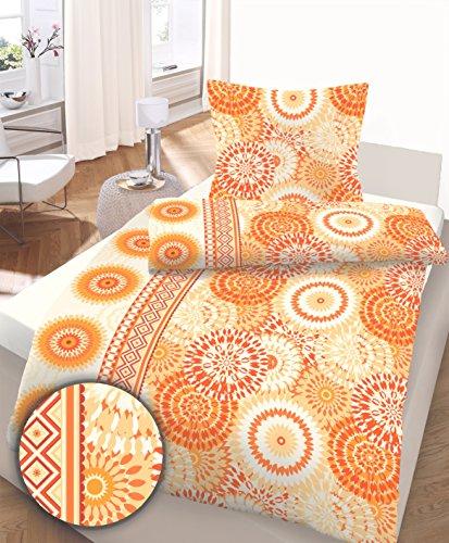 Ido Baumwoll Seersucker Bettwäsche, Gr. 135x200 cm + 80x80 cm, Fb. 420 orange