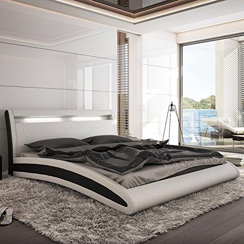 Innocent Polsterbett Kunstleder mit LED-Beleuchtung Mangusta weiß / schwarz, 140x200 cm