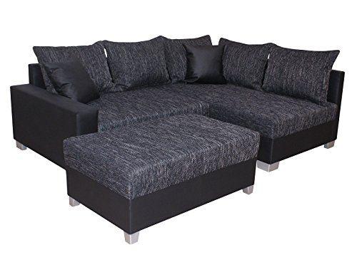 Inter Sofa Figo schwarz mit Hocker Schlafsofa