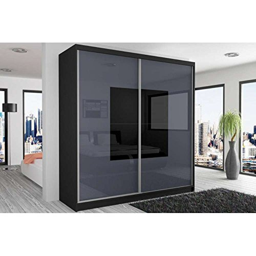 schwebet renschrank kleiderschrank wei gl nzend mit spiegel m bel24. Black Bedroom Furniture Sets. Home Design Ideas
