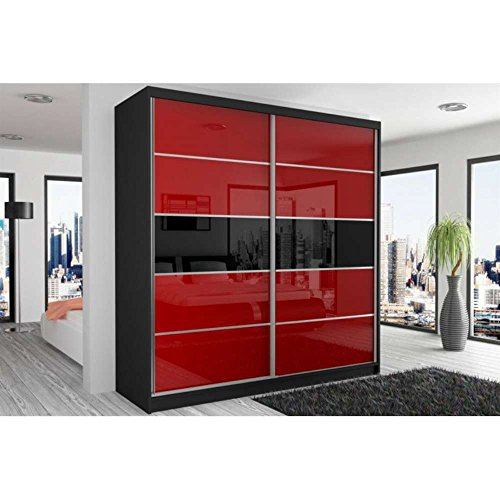justhome beauty iv schwebet renschrank kleiderschrank garderobenschrank 218x200x60 cm farbe. Black Bedroom Furniture Sets. Home Design Ideas