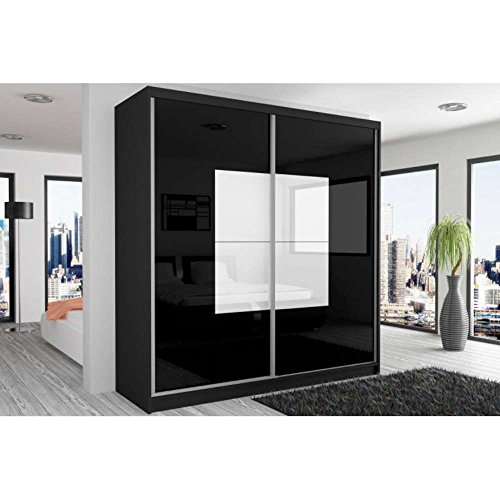 justhome beauty schwebet renschrank kleiderschrank garderobenschrank 218x200x60 cm farbe. Black Bedroom Furniture Sets. Home Design Ideas
