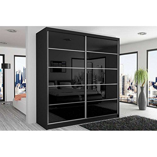justhome beauty vi schwebetrenschrank kleiderschrank garderobenschrank 218x200x60 cm farbe. Black Bedroom Furniture Sets. Home Design Ideas