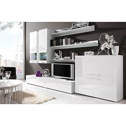 JUSThome COMO II Wohnwand Anbauwand Schrankwand Farbe: Weiß Matt / Weiß Hochglanz