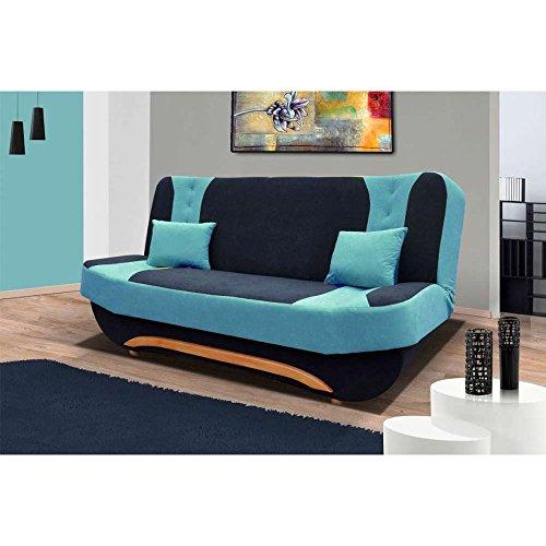 justhome eva ii einzelsofa sofa schlafsofa mikrofaser hxbxt 100x200x95 cm schwarz blau m bel24. Black Bedroom Furniture Sets. Home Design Ideas