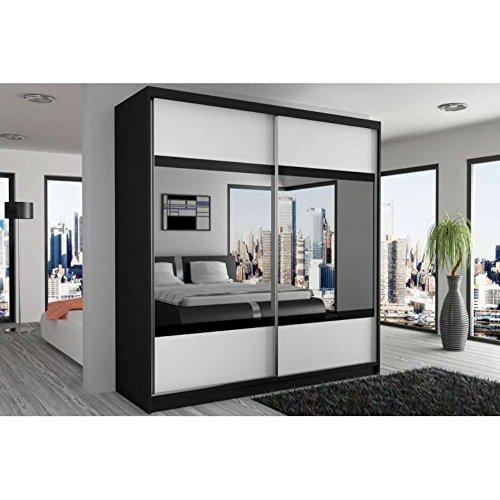 justhome mirror v schwebetrenschrank kleiderschrank garderobenschrank 218x133x60 cm farbe. Black Bedroom Furniture Sets. Home Design Ideas