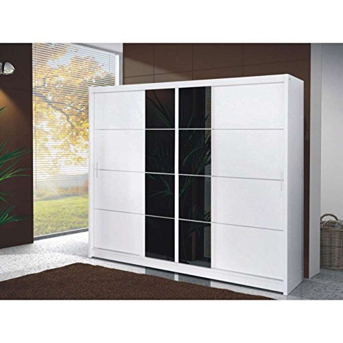 justhome porto 250 schwebet renschrank kleiderschrank garderobenschrank wei schwarzes glas. Black Bedroom Furniture Sets. Home Design Ideas
