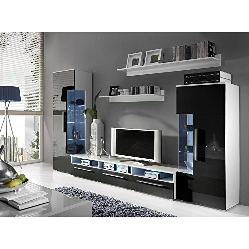 JUSThome ROMA Wohnwand Anbauwand Schrankwand Farbe: Weiß Matt / Schwarz Hochglanz