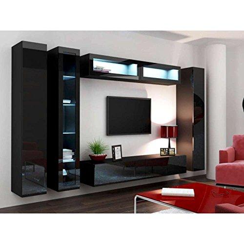 justhome set vigo vi wohnwand anbauwand schrankwand schwarz schwarz hochglanz m bel24. Black Bedroom Furniture Sets. Home Design Ideas