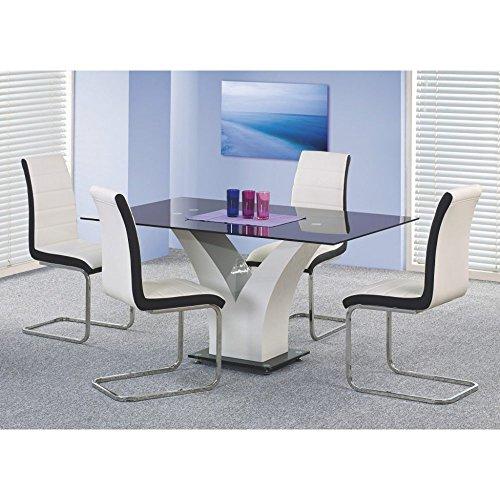JUSThome Sitzgruppe Essgruppe Esszimmertisch Vesper aus Glas Schwarz + 4 Stühle K132