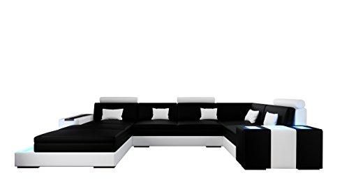 jvmoebel ledersofa ecksofa wohnlandschaft mit beleuchtung zaragoza iv wei schwarz. Black Bedroom Furniture Sets. Home Design Ideas