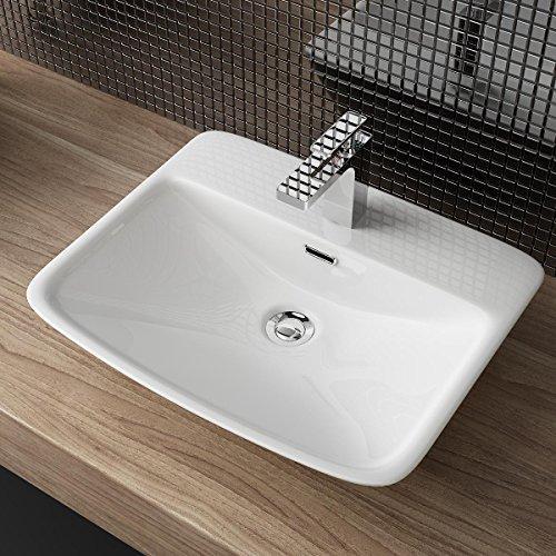 KERAMIK AUFSATZBECKEN WASCHBECKEN WASCHTISCH WASCHSCHALE WANDMONTAGE GÄSTE WC A162