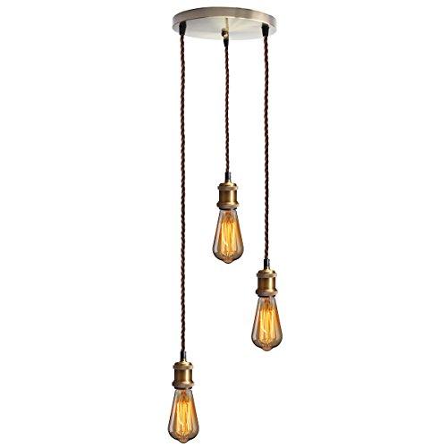 KINGSO E27 Lampenfassung mit drei Fassungen Edison Pendelleuchte Hängelampe Halter DIY Lampe Zubehör im Vintage-Stil mit braunemTextilkabel & Baldachin mit Zertifikat Bronze matt