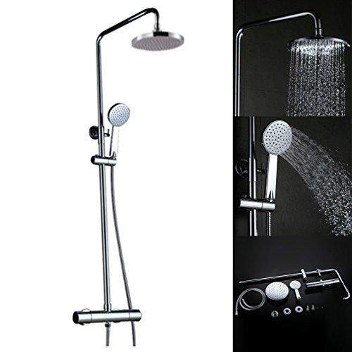 Kinse® 8 Zoll Duschsystem Set Duschkopf Duscharmatur Rainshower Überkopf-Brauseset Messing verchromt Regenbrause mit Thermostat