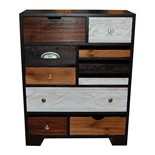 kommode sideboard anrichte finca kare design mit 10 schubladen bunt braun wei breite 70. Black Bedroom Furniture Sets. Home Design Ideas