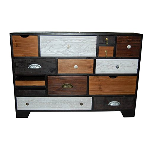 kommode sideboard anrichte finca kare design mit 14 schubladen bunt braun wei breite 114. Black Bedroom Furniture Sets. Home Design Ideas