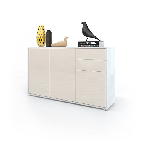 kommode sideboard ben v3 korpus in wei hochglanz fronten in creme hochglanz m bel24. Black Bedroom Furniture Sets. Home Design Ideas