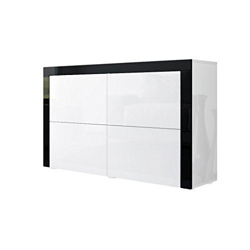 kommode sideboard la paz v2 in wei hochglanz wei hochglanz schwarz hochglanz m bel24. Black Bedroom Furniture Sets. Home Design Ideas
