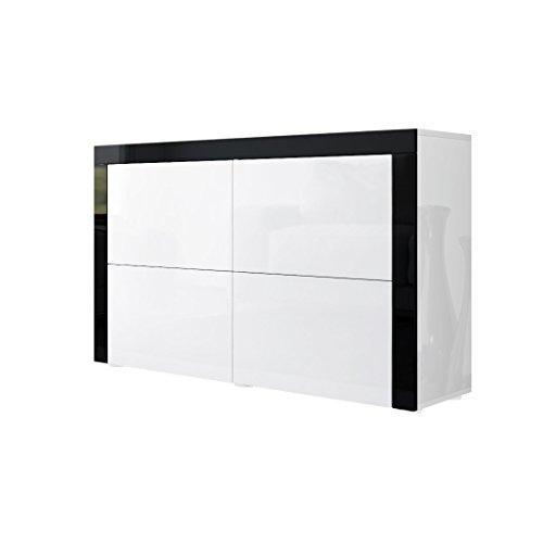 Kommode Sideboard La Paz V2 in Weiß Hochglanz / Weiß Hochglanz / Schwarz Hochglanz