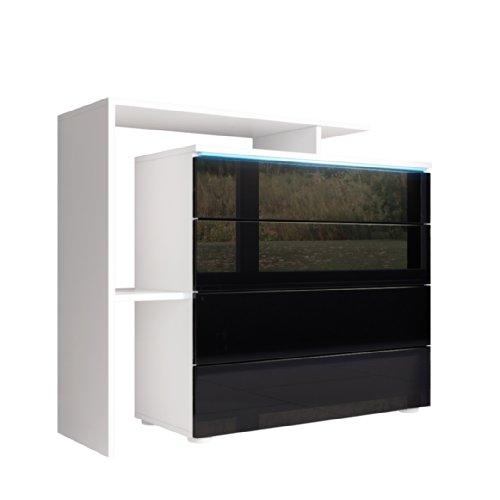 Kommode Sideboard Lissabon V2 in Weiß / Schwarz Hochglanz