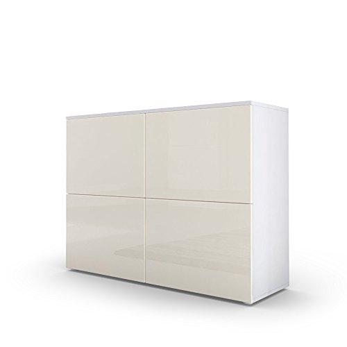 Kommode Sideboard Rova in Weiß matt / Creme Hochglanz / Creme Hochglanz