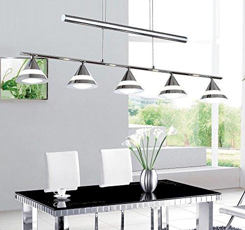 LED Hängelampe Höhenverstellbar Kronleuchte Hängeleuchte Deckenlampe Esszimmer Wohnzimmer TZ-4359-05B Chrom 25W Warmweiss (A++)