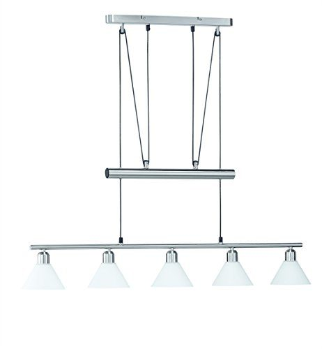 LED Pendelleuchte 5x4W hell höhenverstellbar 80 - 180 cm London 2700k 96cm nickel matt / Glas weiß 20 Watt