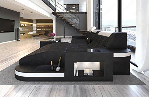 ledersofa ecksofa wave l form eckcouch schwarz wei m bel24. Black Bedroom Furniture Sets. Home Design Ideas