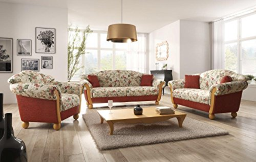 Landhaus sofa garnitur locarno 3 2 1 mit holzchatose for Sofa landhausstil