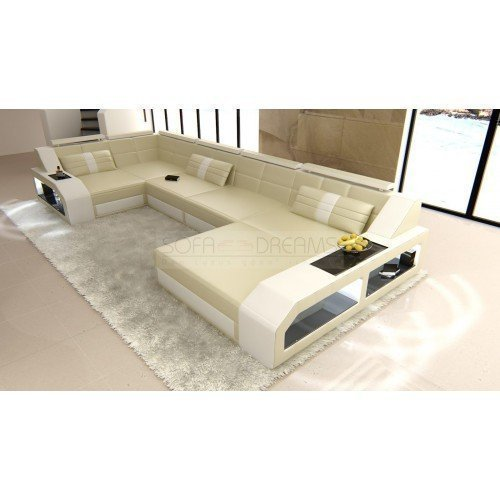 leder wohnlandschaft arezzo beige weiss 0 m bel24. Black Bedroom Furniture Sets. Home Design Ideas