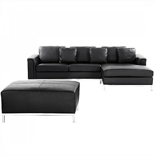 ledercouch schwarz ecksofa eckcouch l ledersofa oslo m bel24. Black Bedroom Furniture Sets. Home Design Ideas