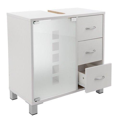 Limal Waschtischunterschrank mit 3 Schubladen Holz weiß, 30 x 60 x 56 cm | Glastür | Teilrückwand | Aussparung für Siphon |