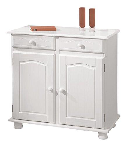 Links 20900802 Kommode Anrichte Sideboard Holzkommode Kiefer massiv weiß 2-türig Schubladen NEU