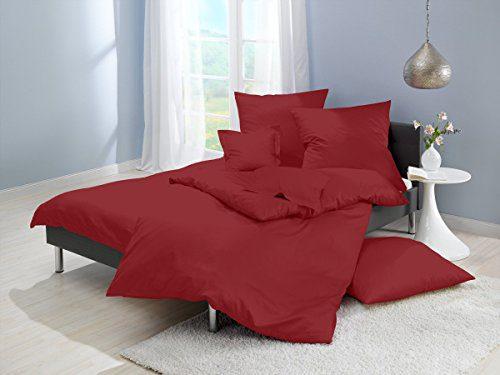 Lorena Textil Uni Classic Bettwäsche Mako-Satin Baumwolle einfarbig (ziegelrot, 155 cm x 200 cm inkl. 80x80cm Kissen)