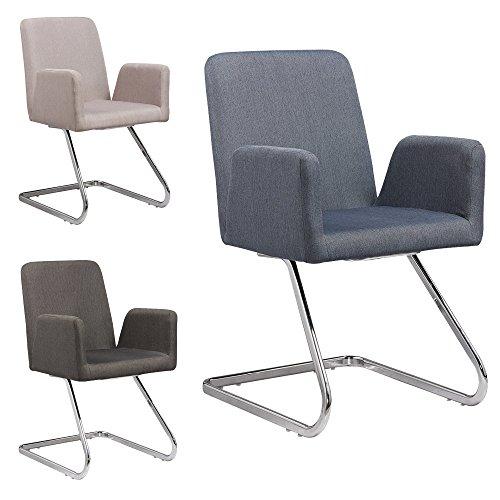 Lounge Stuhl Freischwinger Beatrice mit Armlehnen - Küchenstuhl - viele Farben - Retro Look - Konferenzstuhl - Barstuhl - Esszimmerstuhl - Stoffsessel (Blau - Grau)