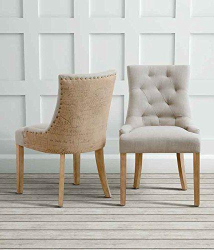 MY-Furniture gepolsterter Esszimmerstuhl mit Lehnenrolle, mit Beine in Antiken Natur TORINO