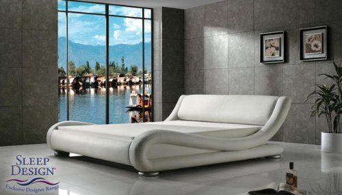 Madrid Designer Bett, Kunstleder, Kingsize, Weiß