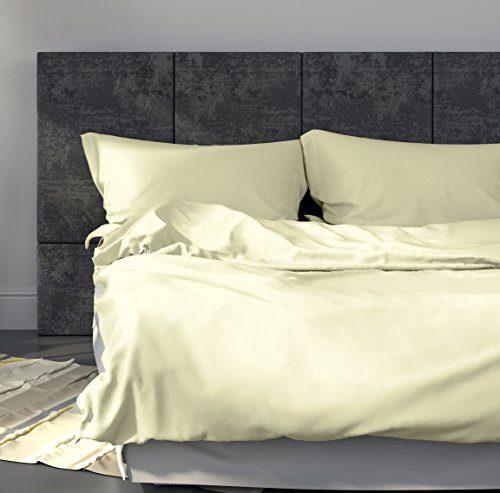 """Mako-Satin Bettwäsche-Set """"Uni"""" 155x220 cm Creme - Bettdecke und Kopfkissen-Bezug aus Satin-Baumwolle mit Reißverschluss - Der schöne & elegante Bett-Bezug mit leichtem Glanz für das ganze Jahr"""