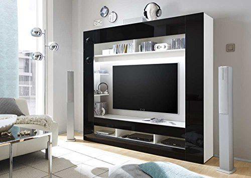 Media-Center in Hochglanz schwarz, Korpus in weiß mit großem TV-Ausschnitt und offenen Geräterfächern, Maße: B/H/T ca. 180/160/34 cm