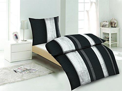 Microfaser Seersucker Bettwäsche 4-tlg. silber/schwarz 2x 155x220 Bettbezug + 2x 80x80 Kissenbezug , Öko-Tex Standart 100