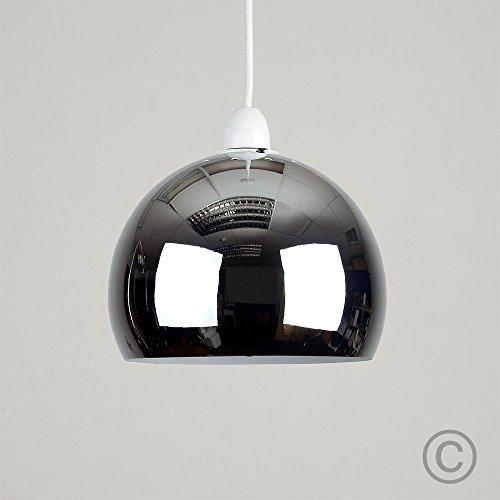 """MiniSun - Mini kuppelförmiger, gläziger, verchromter """"Arco"""" Lampenschirm für Hänge- und Pendelleuchten im coolen Retrostil"""