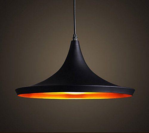 Moderne Industrie beleuchtung Metall Schatten Loft Pendelleuchte Retro-Deckenleuchte Vintage-Lampenschirme Retro Lampe Shade Loft Coffee Bar Küchenhänge pendelleuchte 1 X E27 Max. 60W (außen schwarz innen gold)